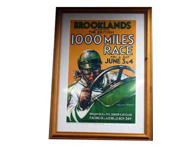"""ポスター  額入り """"Brookland 1000mile race"""" オートモビリア 印刷物 ポスター"""
