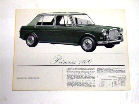 1963y'Vanden Plas Princess 1100 オリジナル 当時物 オートモビリア 印刷物 カタログ