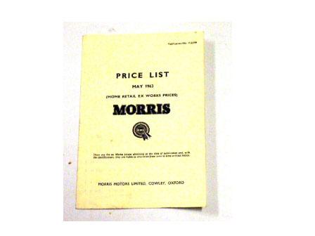 プライスリスト 1963y' May オリジナル オートモビリア 印刷物 カタログ