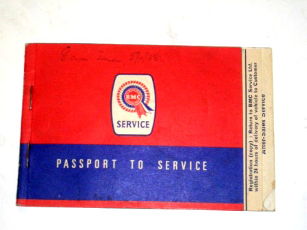 小冊子 BMC Passport to service 1968Nov オートモビリア 印刷物 マニュアル