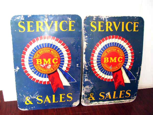 オリジナル BMCサービス 看板 ペア オートモビリア 看板 サインボード(エナメル他)