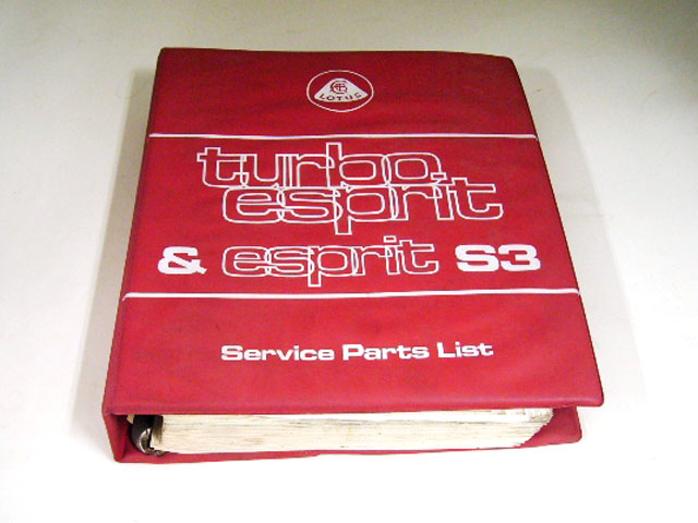 LOTUS TURBO ESPRIT&ESPRIT S3 SERVICE PARTS LIST オートモビリア 印刷物 カタログ