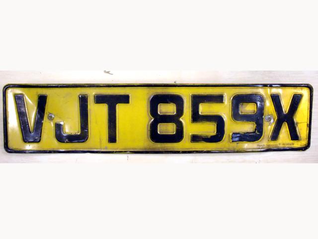 英国 ナンバープレート  VJT859X オートモビリア その他 カー・バッジ/プレート