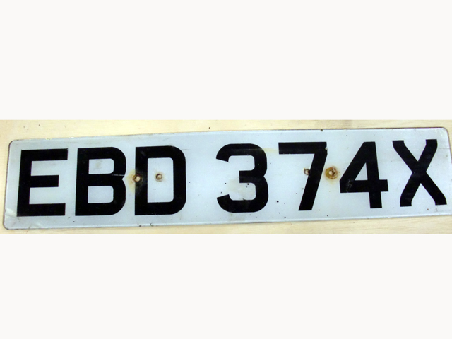 英国 ナンバープレート  EBD374X オートモビリア その他 カー・バッジ/プレート