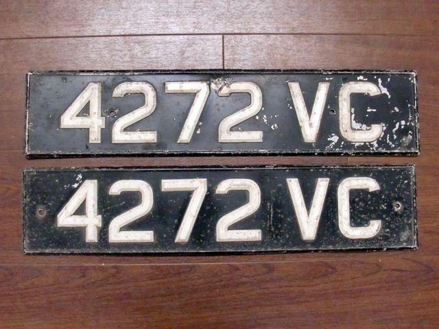英国 ナンバープレート ペア  4272VC オートモビリア その他 カー・バッジ/プレート