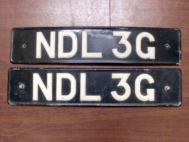 英国 ナンバープレート ペア  NDL3G オートモビリア その他 カー・バッジ/プレート